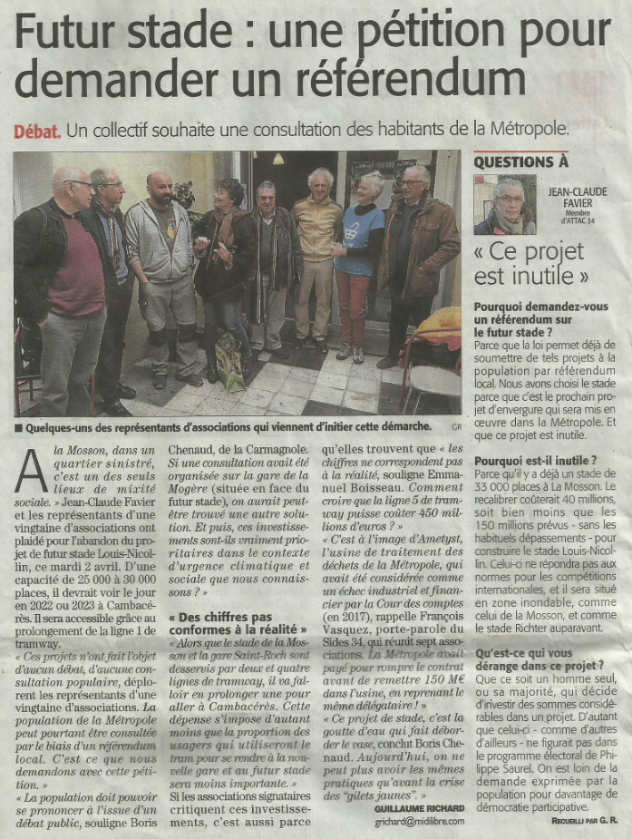 Article Midi Libre du 3 avril 2019
