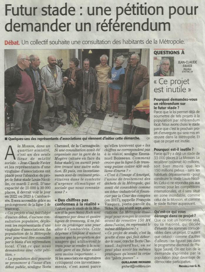 Article Midi Libre du 3 avril 2019